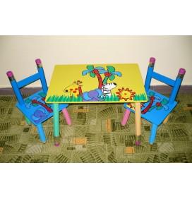 Masuta Copii cu scaunele Happy Animals Galbena
