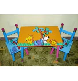 Masuta Copii cu scaunele Happy Animals Portocalie
